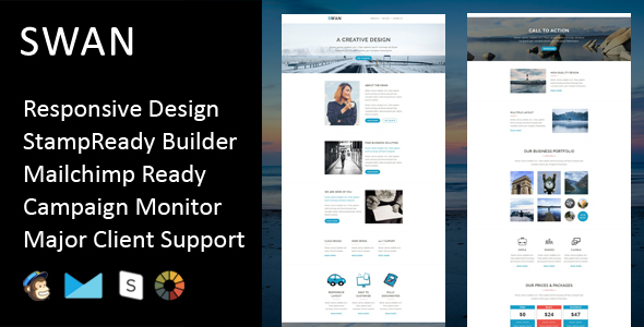 Image of Swan - Multipurpose Responsive Email Template + Stampready Builder