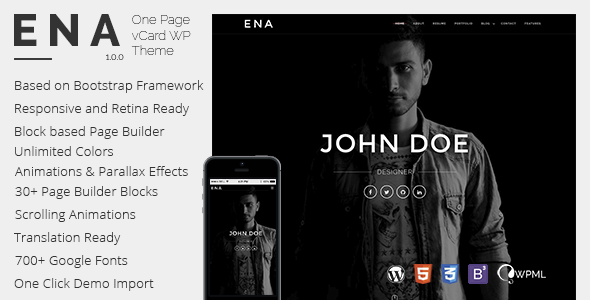 ENA - vCard WordPress Theme