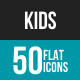 Kids Flat Multicolor Icons