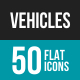 Vehicles Flat Multicolor Icons