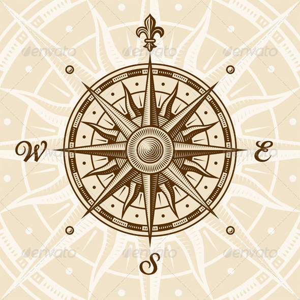 Vintage Compass Rose - Travel Conceptual