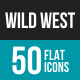 Wild West Flat Multicolor Icons