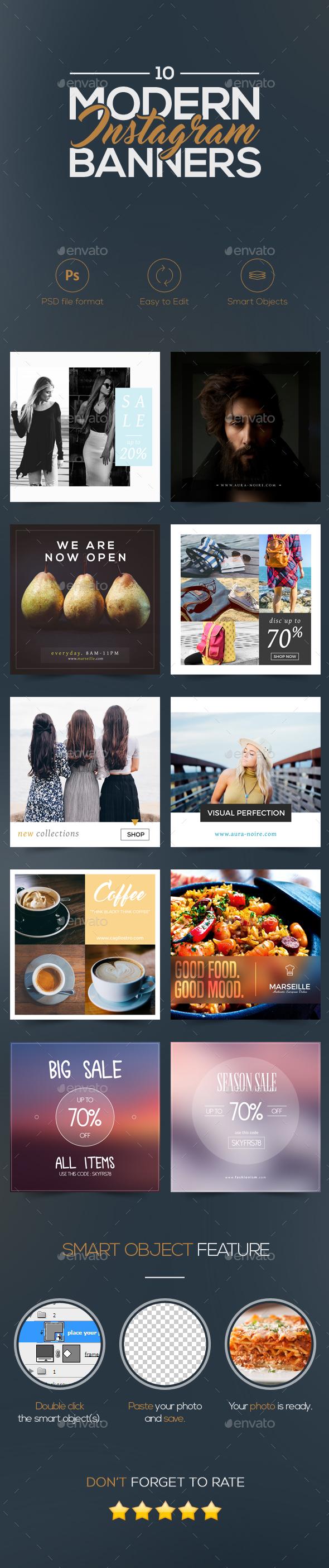 Modern Instagram Banners 2  - Social Media Web Elements