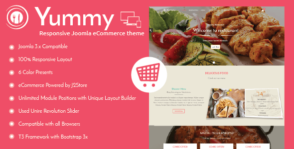 Yummy - Responsive Joomla Restaurant Template - Food Retail
