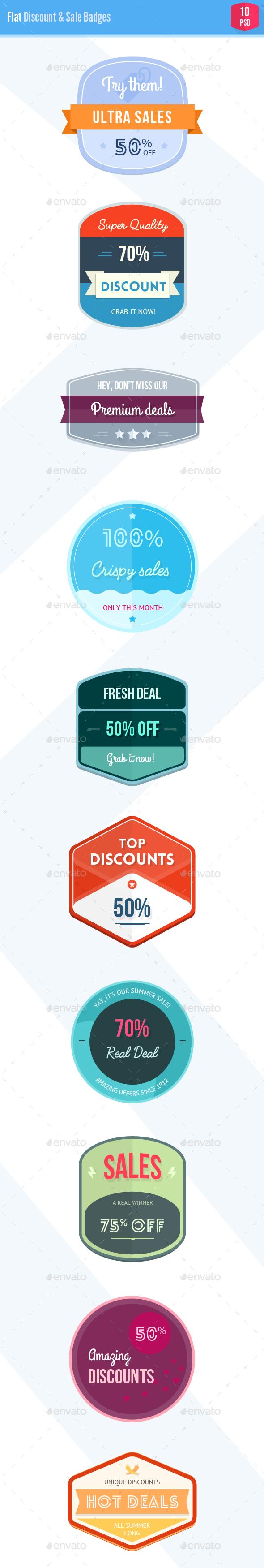 Shiny Flat Discount & Sale Badges - Badges & Stickers Web Elements