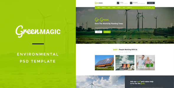 Green Magic : Environmental PSD Template - Environmental Nonprofit