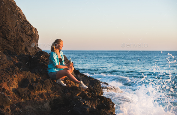 Young blond woman tourist - Stock Photo - Images