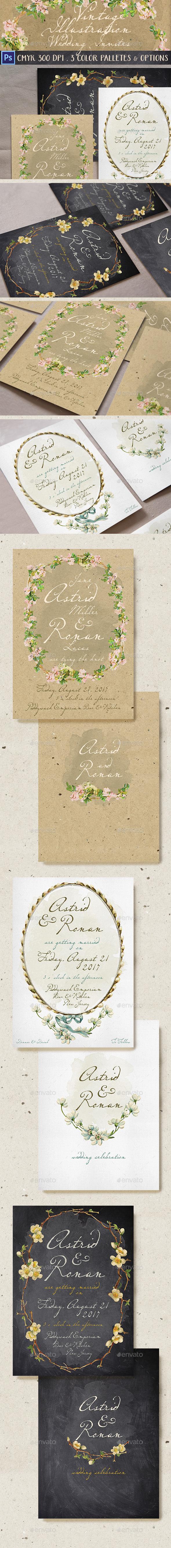 Vintage Illustration Wedding Invitation