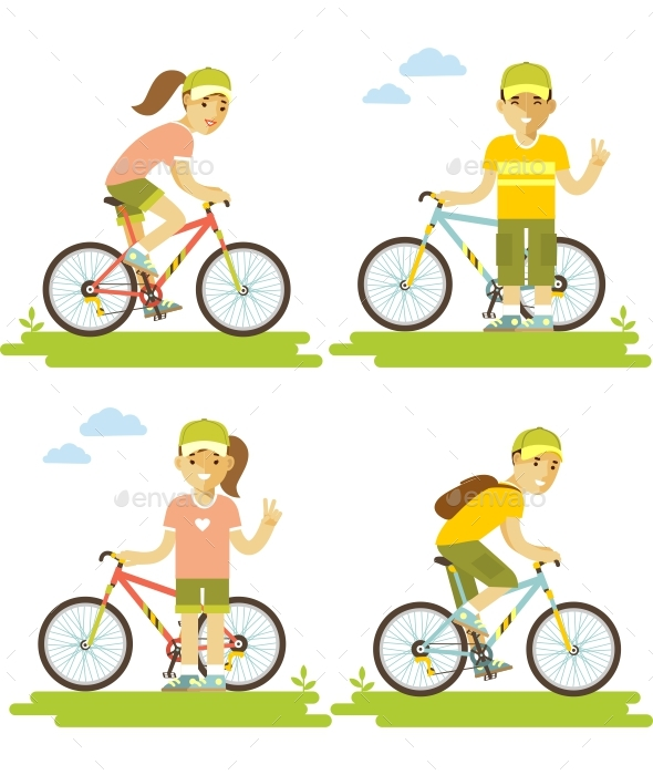 Bike and People Set - Sports/Activity Conceptual