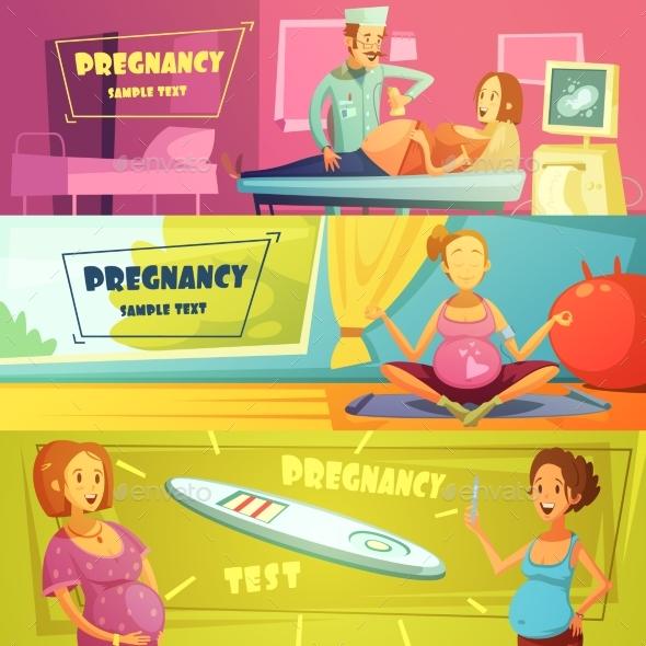 Pregnancy 3 Horizontal Retro Banners Set  - Health/Medicine Conceptual