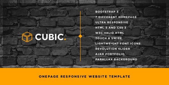 Cubic - One Page Responsive HTML Template - Portfolio Creative