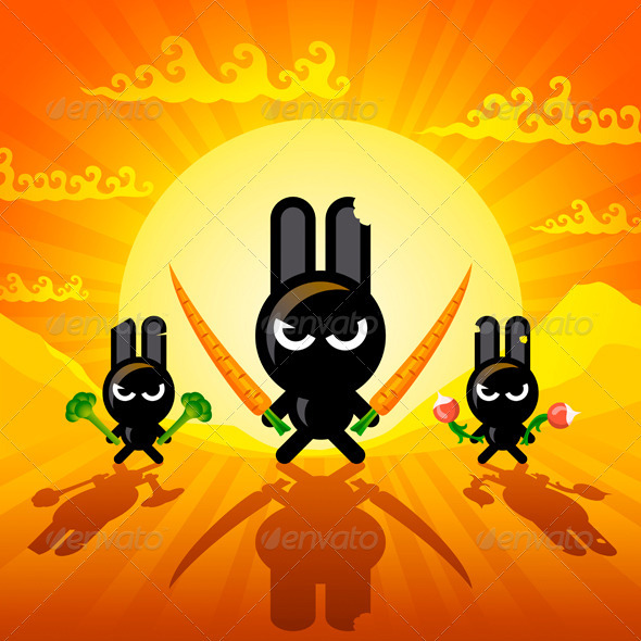 Ninja Rabbits - Animals Characters
