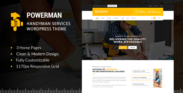 POWERMAN – Handyman Services WordPress