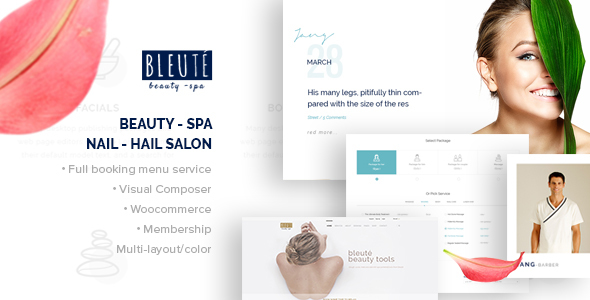 Bleute – WordPress theme Beauty | Spa | Hair Salon | Makeup | Hair | Yoga |  Booking WooCommerce