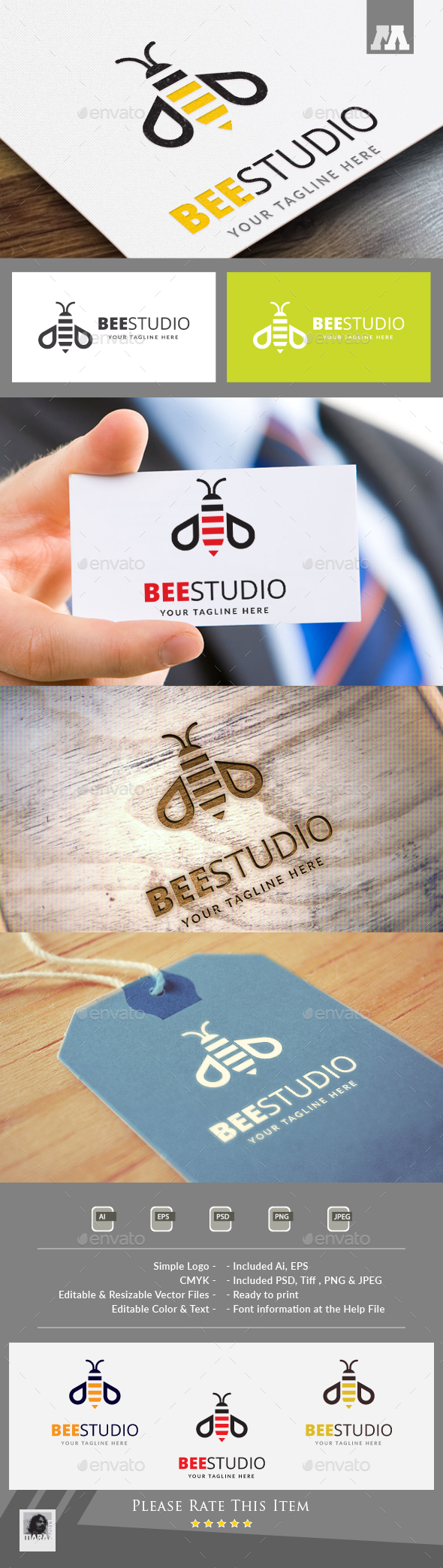 Bee Studio Logo - Animals Logo Templates