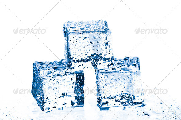 pile of three ice cubes - Stock Photo - Images