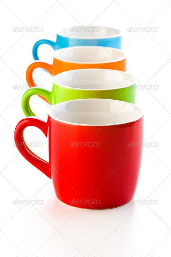 colorful ceramic mugs - Stock Photo - Images