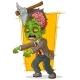 Cartoon Walking Green Zombie with Axe
