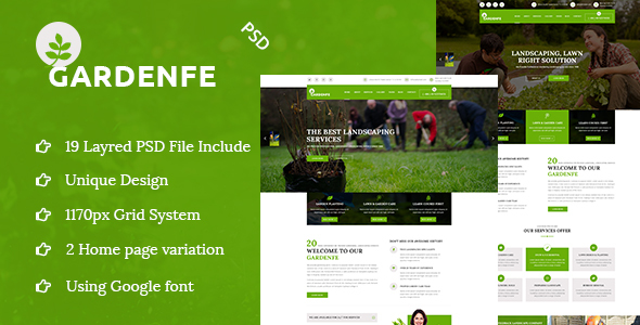 GARDENFE- Gardening and Landscaping PSD Template  - Business Corporate