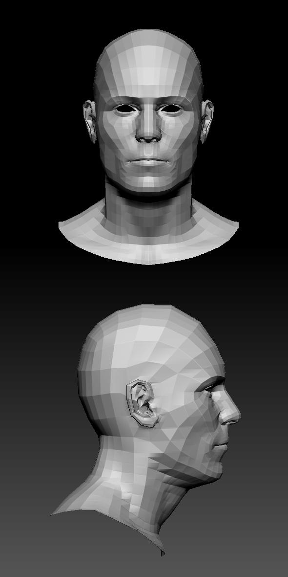 LowPoly Male head - 3DOcean Item for Sale