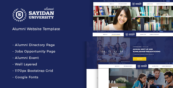 Sayidan - University Alumni HTML5 Template - Corporate Site Templates