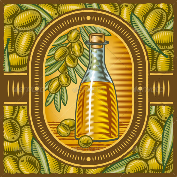 Retro Olive Oil - Food Objects