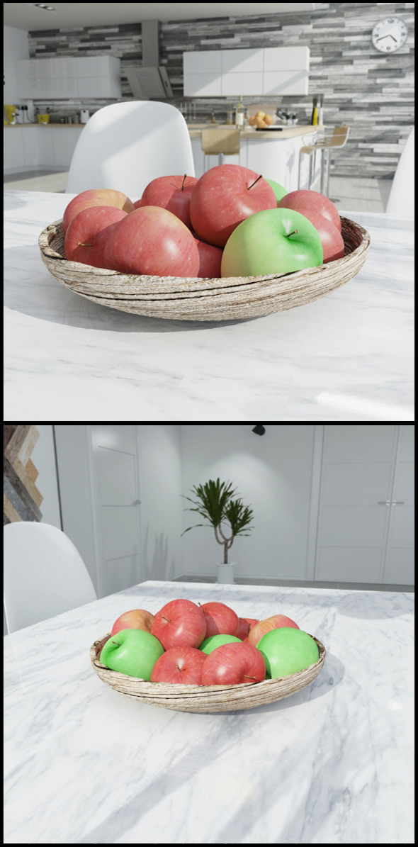 Wooden bowl with apples - 3DOcean Item for Sale
