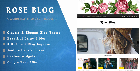 Rose Blog – A Responsive WordPress Blog Theme
