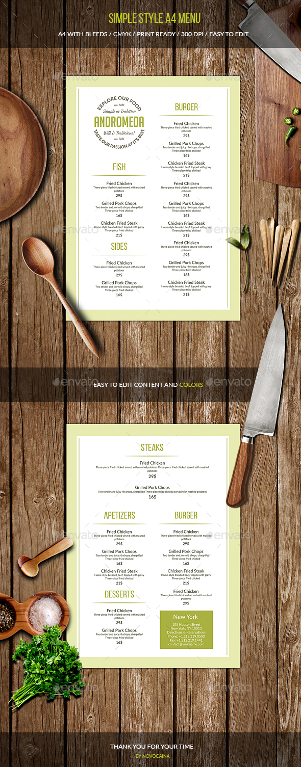Simple Style A4 Menu
