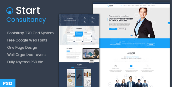 Download Free Start - Onepage Consultancy PSD Template
