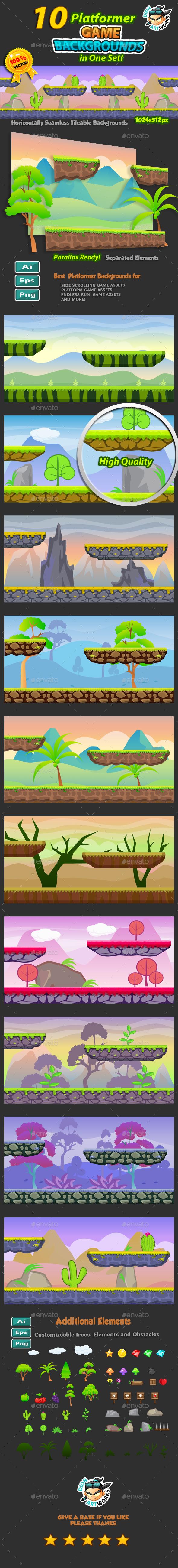 10 Platformer Game Backgrounds Set - Backgrounds Game Assets