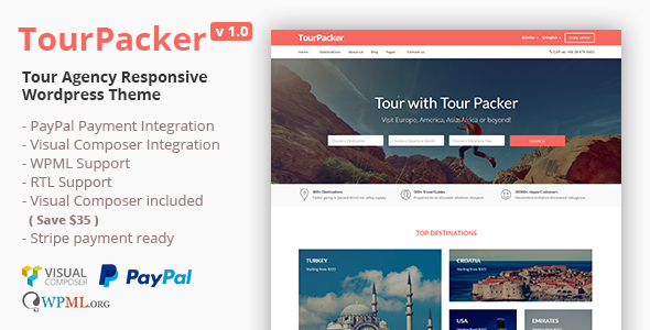 Tour Packer – Tour Agency WordPress Theme