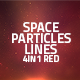 Space Particles And Lines Loop 4in1 Backgrounds Red - VideoHive Item for Sale