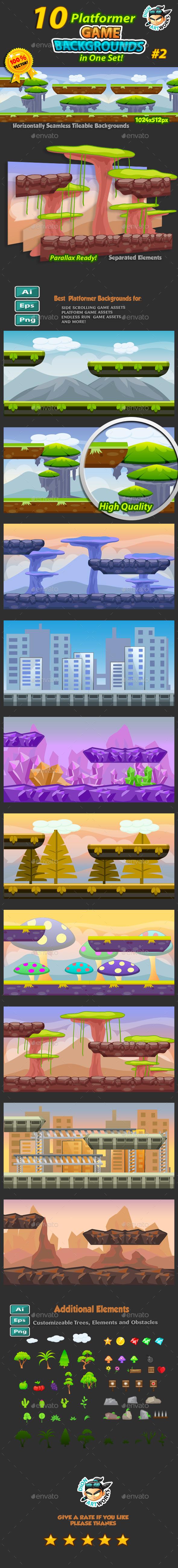 10 Platformer Game Backgrounds Set 02 - Backgrounds Game Assets