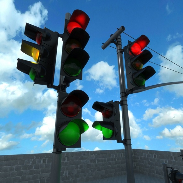 traffic lights set - 3DOcean Item for Sale