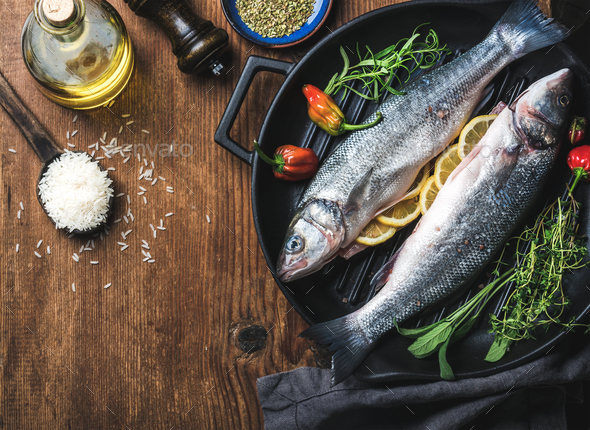 Ingredients for cookig healthy fish dinner - Stock Photo - Images