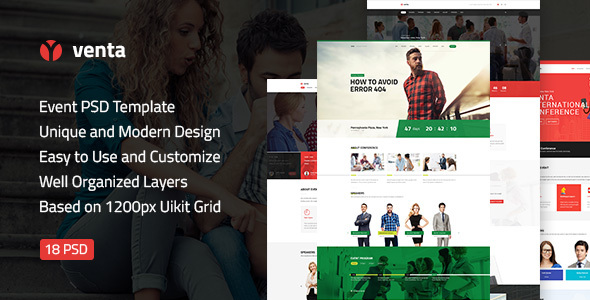Download Free Venta — Event & Conference, Blog, Business PSD Template