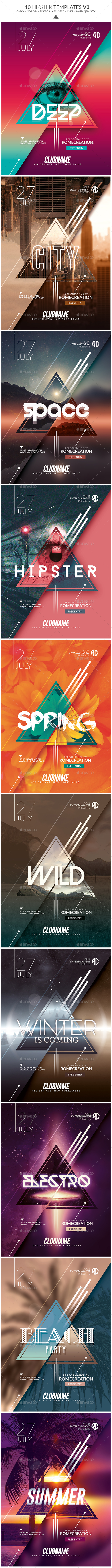 Package Hipster | x10 Minimal Flyer Templates V2 - Events Flyers