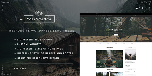 Springbook – Responsive WordPress Blog Travel Photography Theme