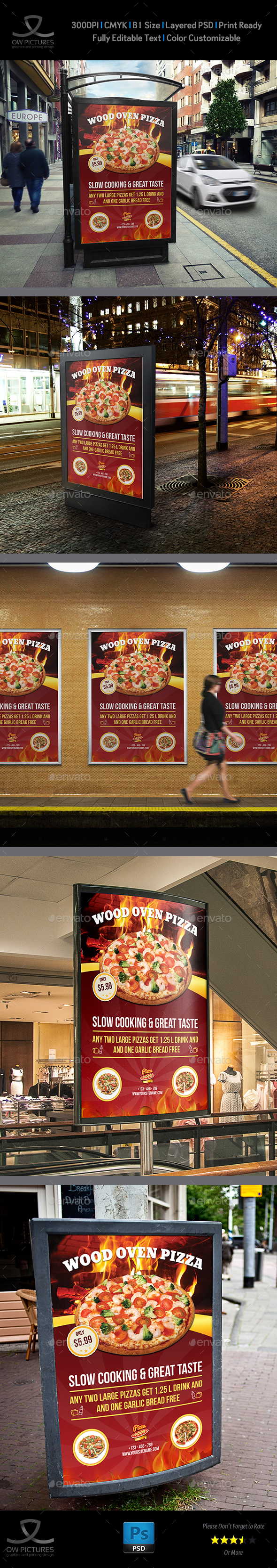 Pizza Restaurant Poster Template Vol.2