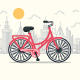 Red Bicycle in the City - GraphicRiver Item for Sale