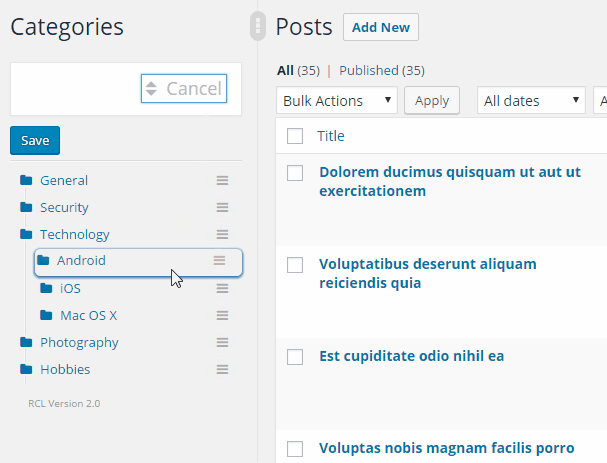 how to create multiple categories in bootstrap like wordpress