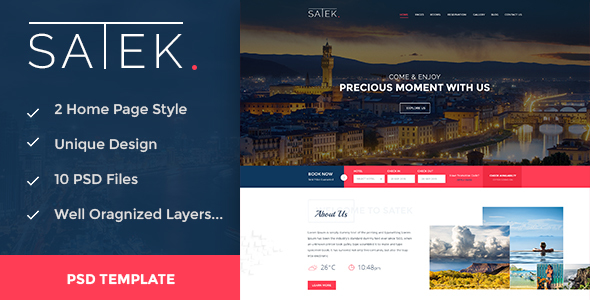 SATEK. - Hotel & Resort PSD Template - Travel Retail