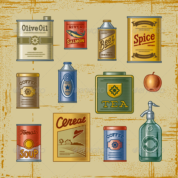 Retro Grocery Set - Food Objects