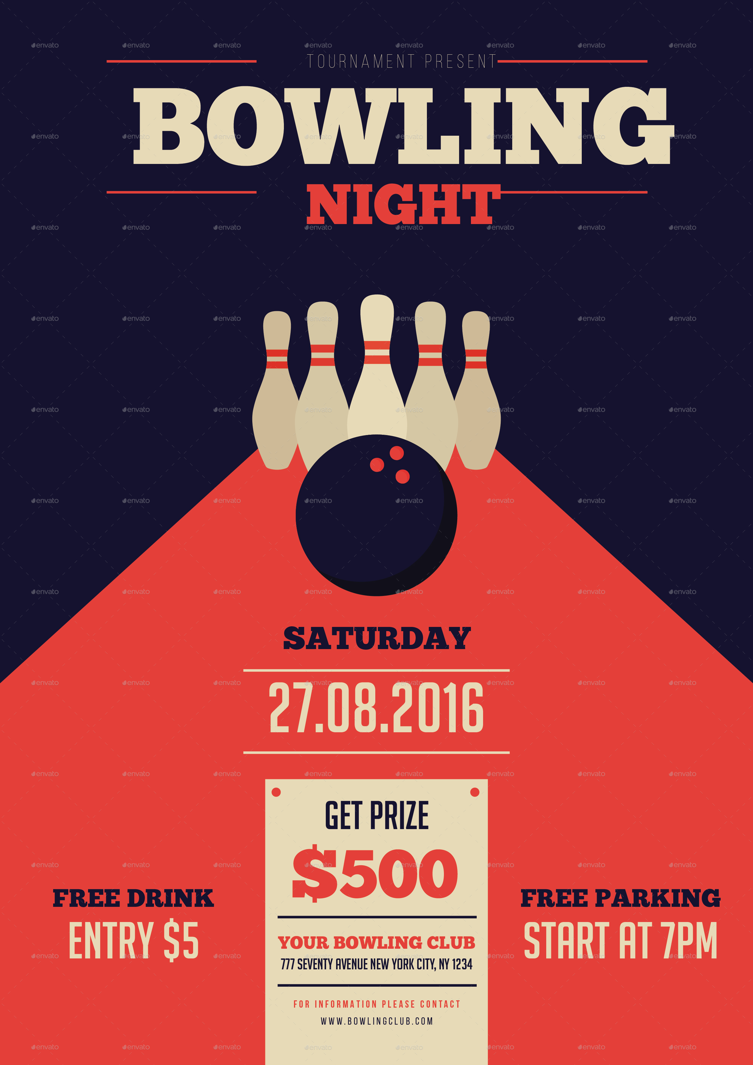 Bowling Night Flyer by mingming – Bowling Flyer Template