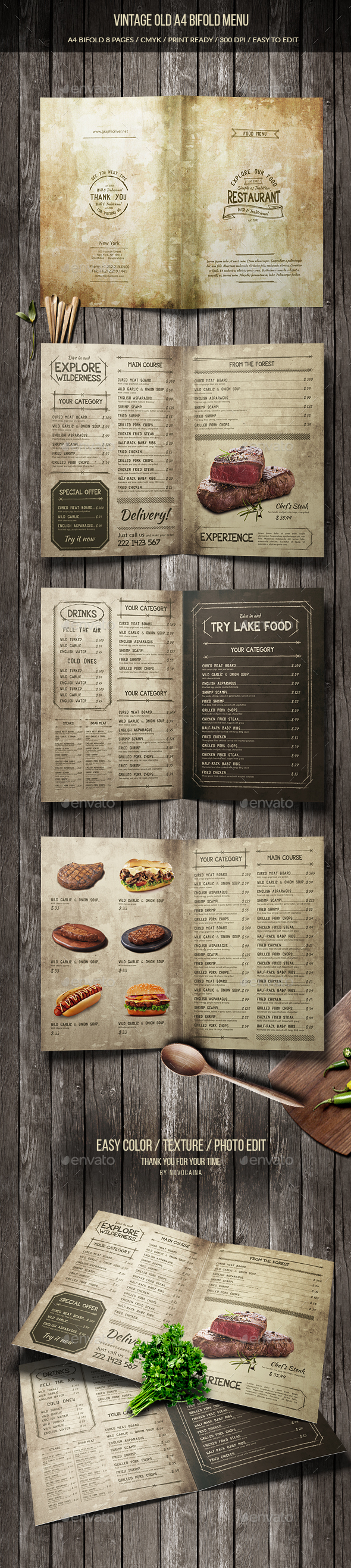 Vintage Old A4 Bifold Menu (8 pages)