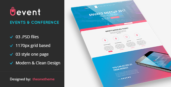 Uevent – One page Event Management PSD Template
