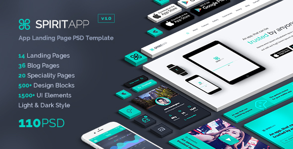 SpiritApp - App Landing Page PSD Template - Marketing Corporate