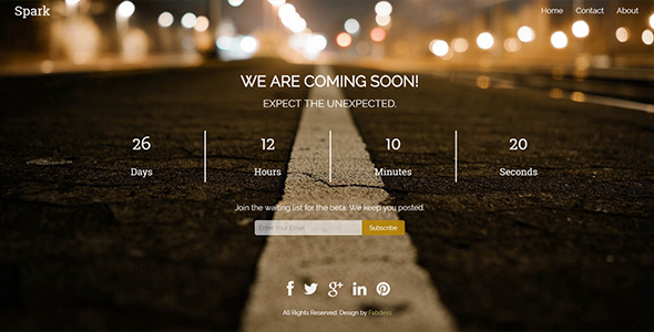 Spark – Responsive Coming Soon Template