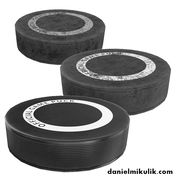 Hockey Puck Low Poly PBR Textures 3 Types - 3DOcean Item for Sale